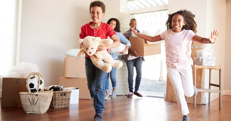 A family moves into a new home.