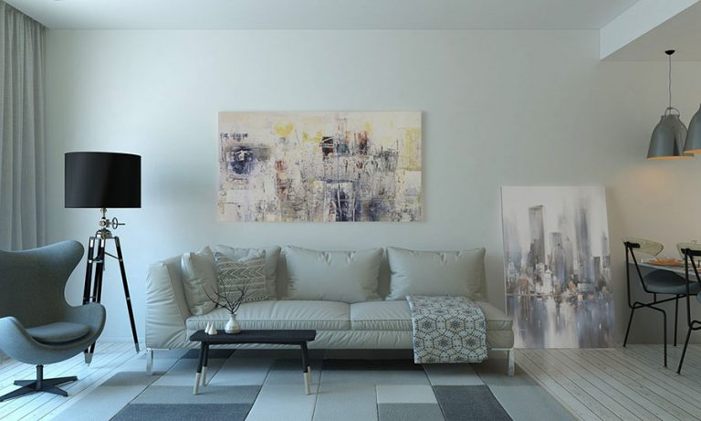 a living room with wall art